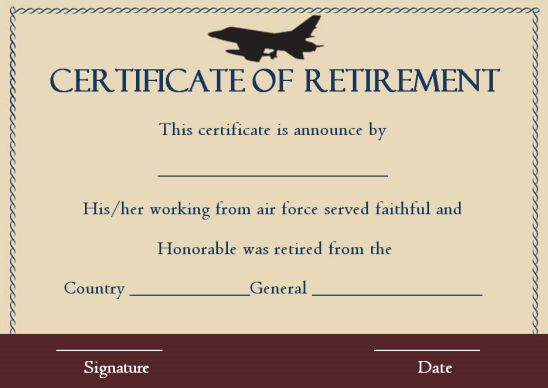 Retirement certificate air force