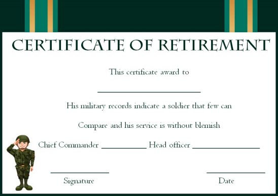 Retirement certificate army