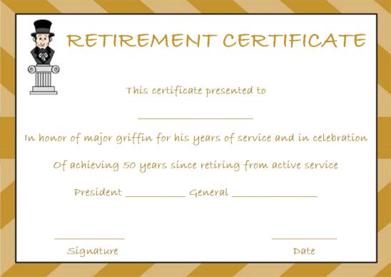 Retirement certificate awarded by the president