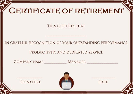 Retirement certificate for employee