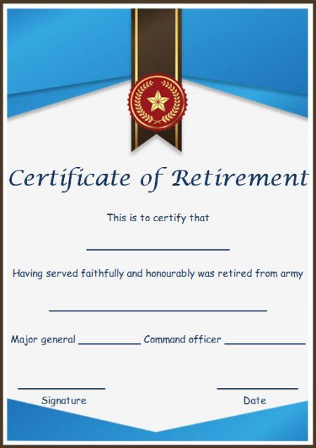 Retirement certificate for spouse
