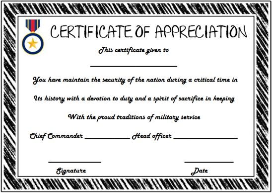 Retirement certificate of appreciation template