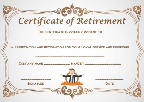Retirement congratulations certificate
