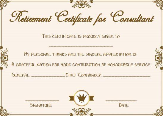 Retirement consultant certificate