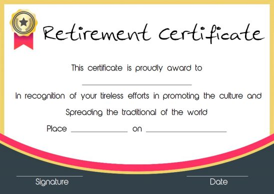 Retirement recognition certificate