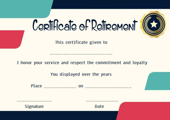 Retirement thank you certificate