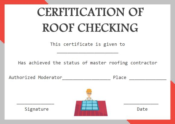 Roof certification form templates
