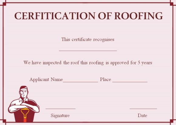 Roof certification letter template