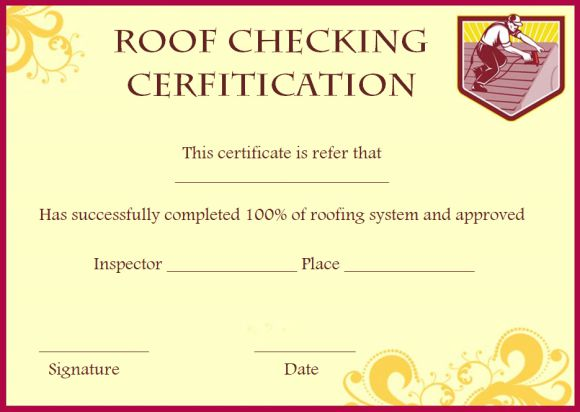 Roof certification template