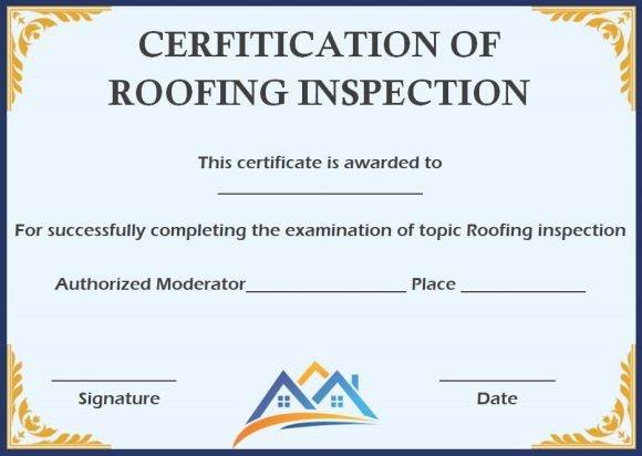 Roof inspection certification template