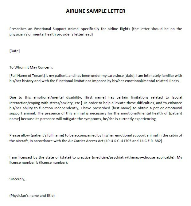 Sample Letter From Doctor To Airline