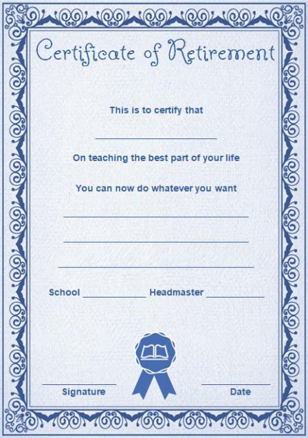 Teacher retirement certificate template