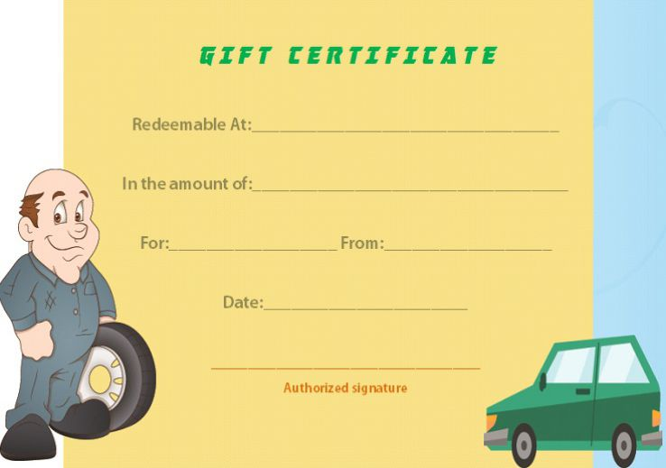 Template auto detailing certificate