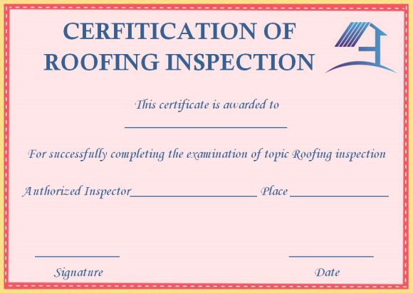 Roof inspection certification templates