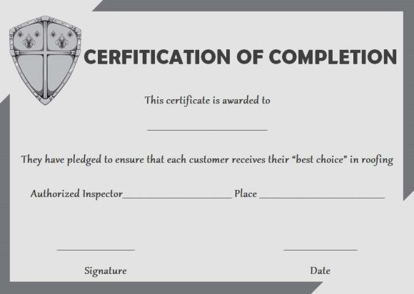 Roofing certificate of completion template