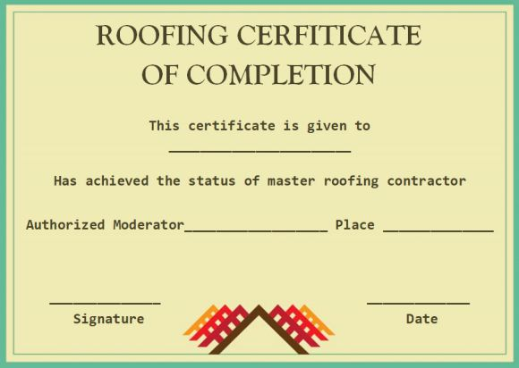 Roofing certificate of completion templates