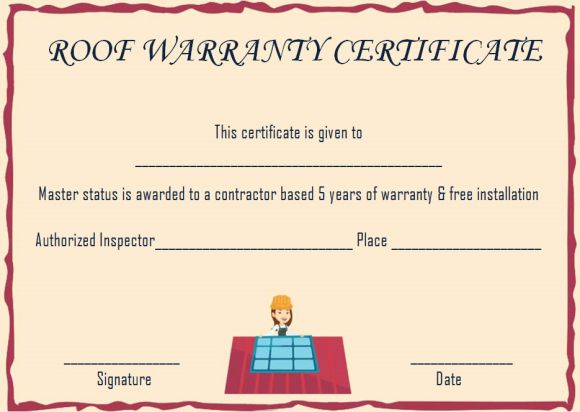 Roofing warranty certificate template word