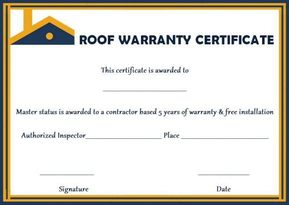 Roofing warranty certificate templates free
