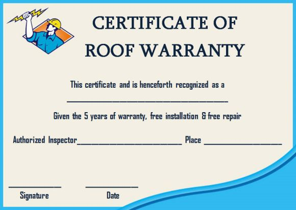 Roofing warranty certificate templates word